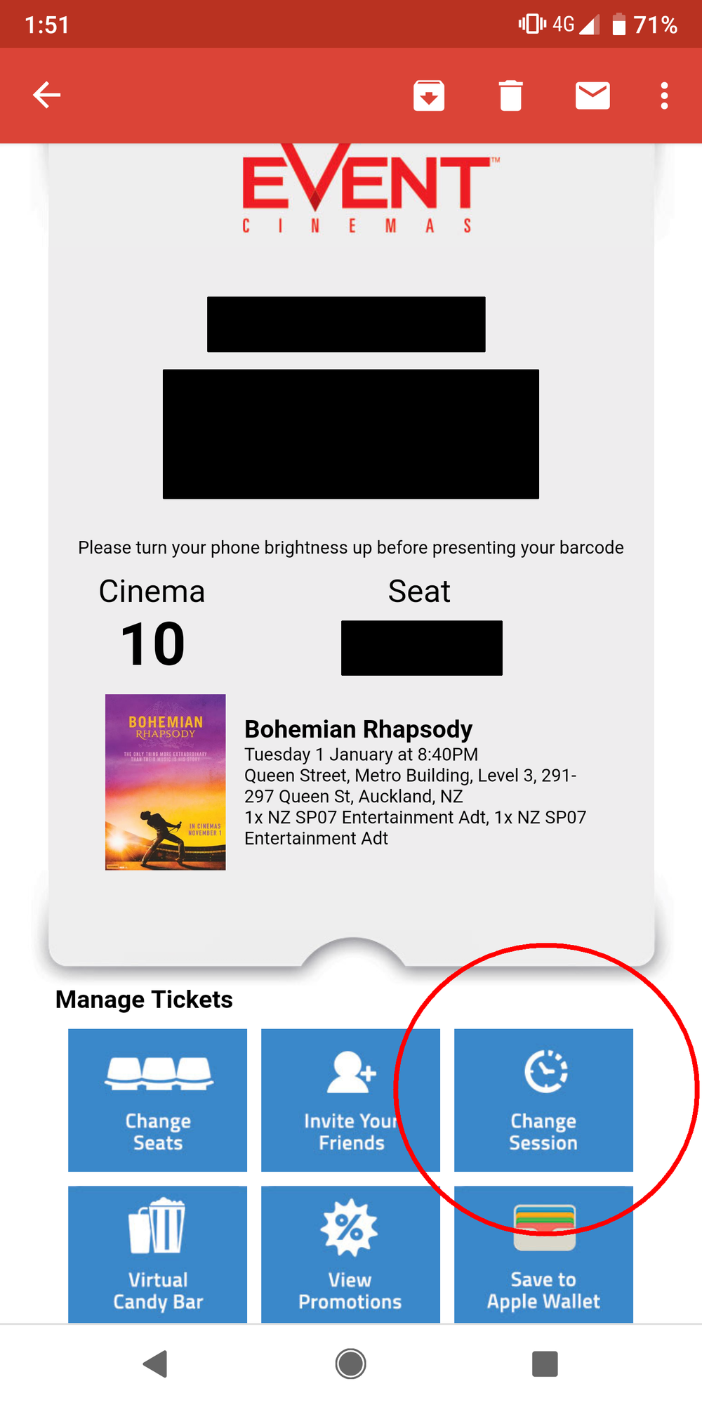 Event Cinemas booking confirmation email with the Change Session button highlighted