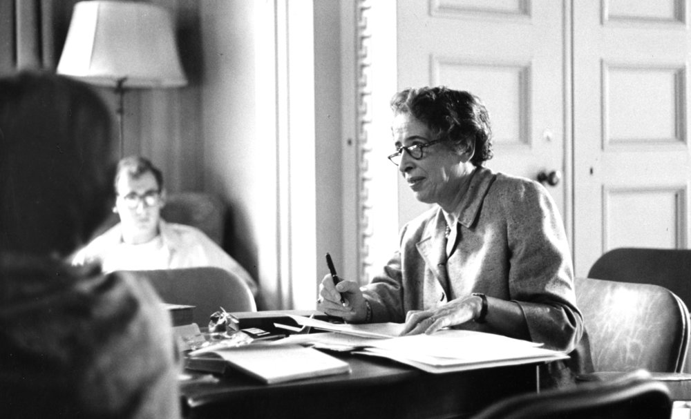 Hannah Arendt at Wesleyan University, 1963.  Credit:   http://roth.blogs.wesleyan.edu/files/2013/09/Arendt-in-class-room.jpg