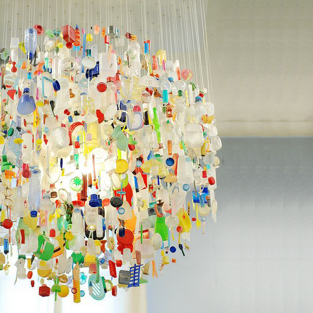 Create a public art piece made from beach plastic - Image via Pinterest