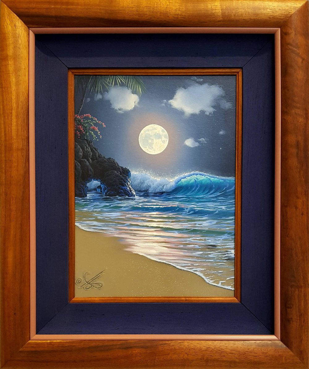 """Moonlit Transparency"" 12x16 oil                   ( framed in solid Hawaiian Koa wood )               In the privet collection of  Mr. Stephens"