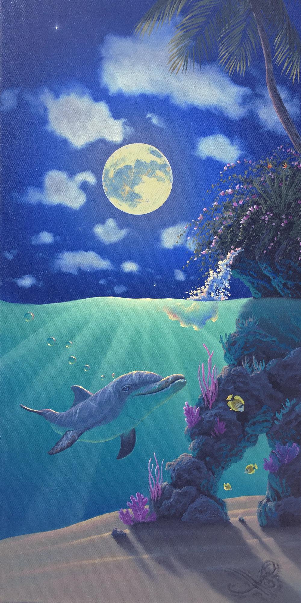 """""""Dolphin Paradise"""" 12x24 oil"""
