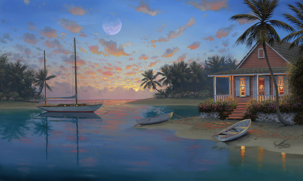 """Serenity Cove"" LSN 21X34 lithograph 1,500 SN 21X34 giclee 140 AC 26.5X44 giclee 120 MC 32X52 giclee 75 Total 1,835"