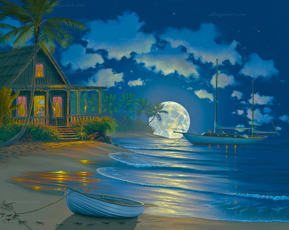 """South Sea Paradise""  LSN 24X28.75 lithograph 1500 SN 24X30 giclee 140 AC 30X37.5 giclee 120 MC 36X45 giclee 75 Total 1,835"