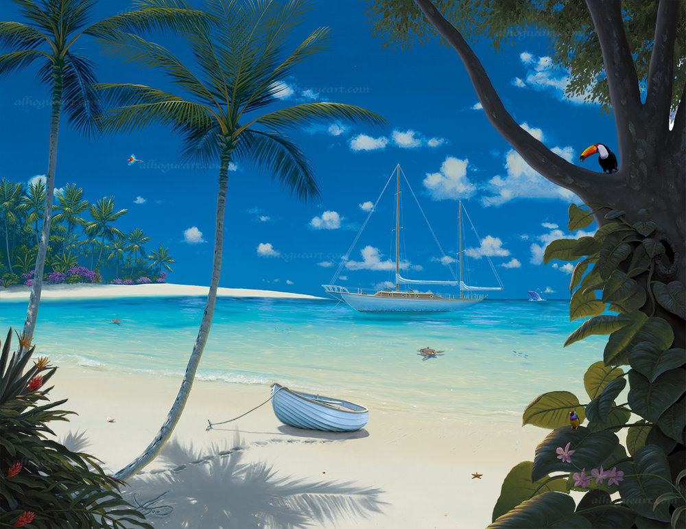 """Sunlit Paradise""  PP 16X20 giclee 50 AC 20X24 giclee 50 SN 24X30 giclee 140 MC 30X37.5 giclee 75 Total 315"