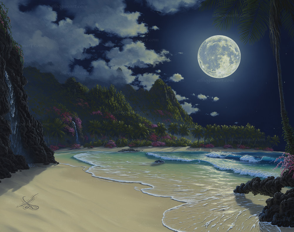 """Kauai Moonrise"" 24""x30"" oil painting was commissioned by the Nagota family in Tokyo Japan to remind them of their vacations to Bali Hai on the island of Kauai in Hawaii."