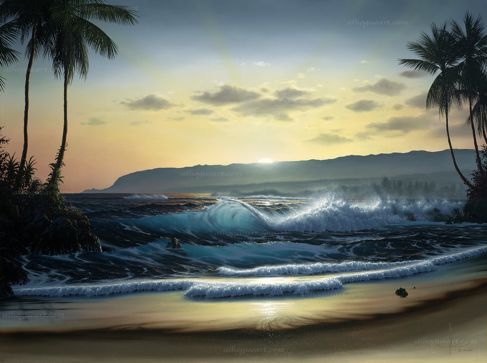 """Waialua Daybreak""  SN 24X30 giclee        140  AP 30X37.5 giclee      120  AC 36x45 giclee         75  Total                 335"