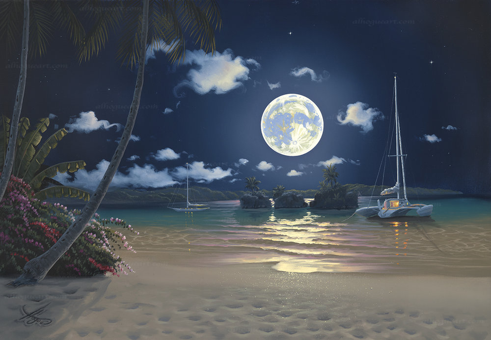 """Moonlit Islands"" 20""x25"" oil painting commissioned by the Onerheim family to remind he and his wife of their tropical adventures around the world."