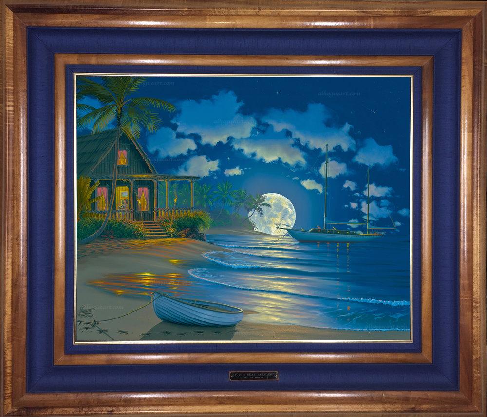 """""""South Seas Paradise"""" 24x30 oil on canvas in a Hawaiian Koawood frame"""