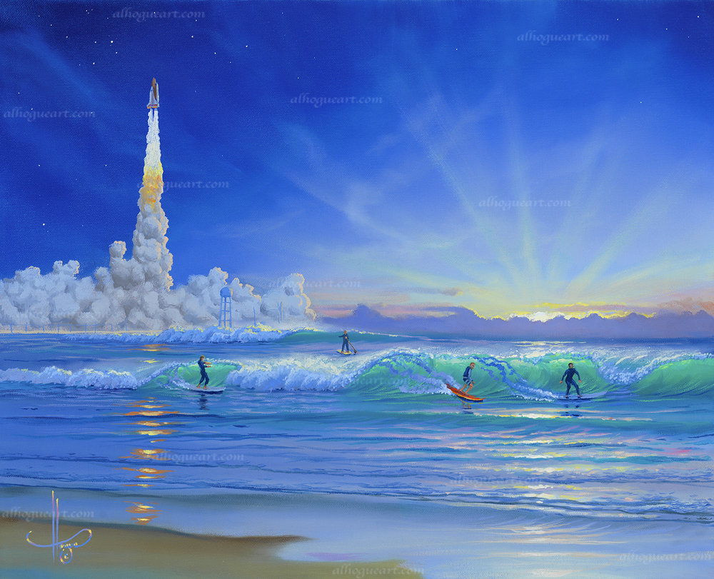 """Second Light"" 16""x20"" oil painting commissioned by a veteran of the aerospace program in Cape Canaveral Florida. The light from the exhaust plum of the space shuttles main engines and solid rocket boosters was referred to as the light for humans to explore into space, the second light being after the Apollo moon rocket program ended. This beach where he surfs is called the second light."