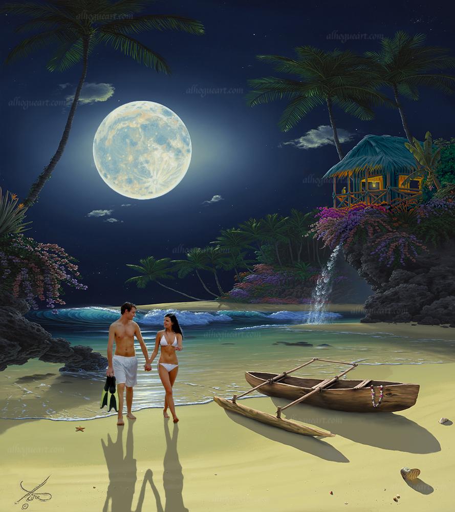 A moonlit swim