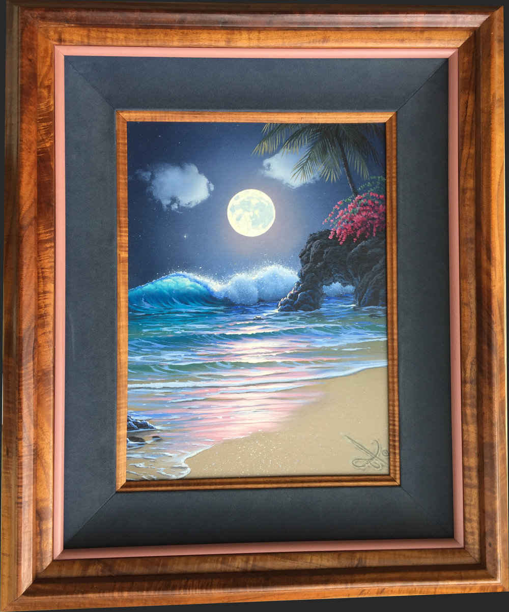 """""""Midnight Surf""""   12x16 oil    ( framed in solid Hawaiian Koa) In the privet collection of the Kutch family"""