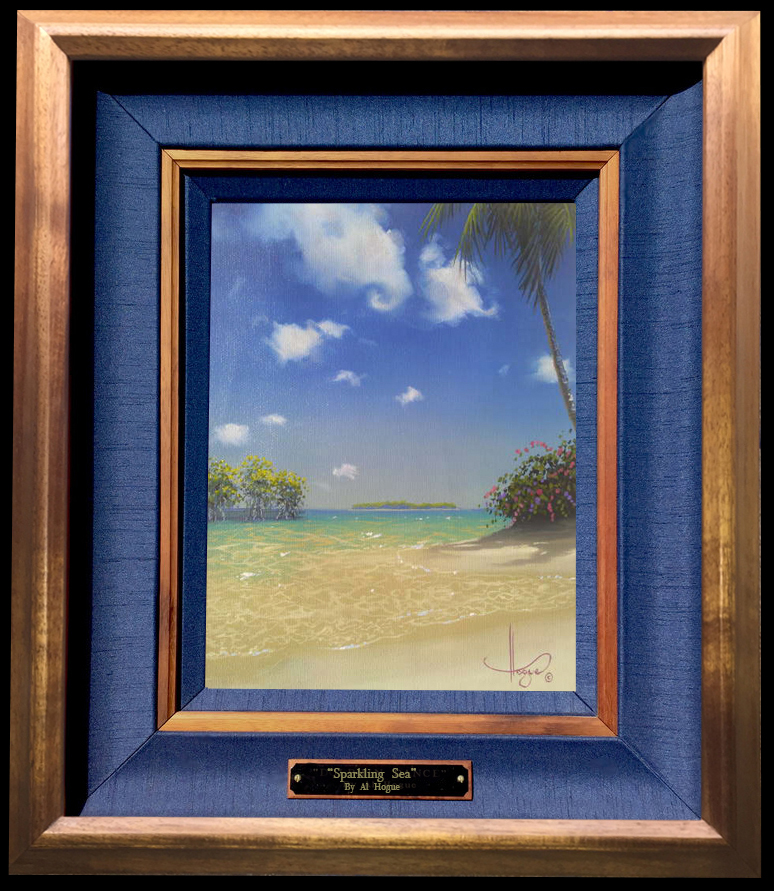 """Sparkling Sea"" 8x10 oil framed in a solid koawood frame"