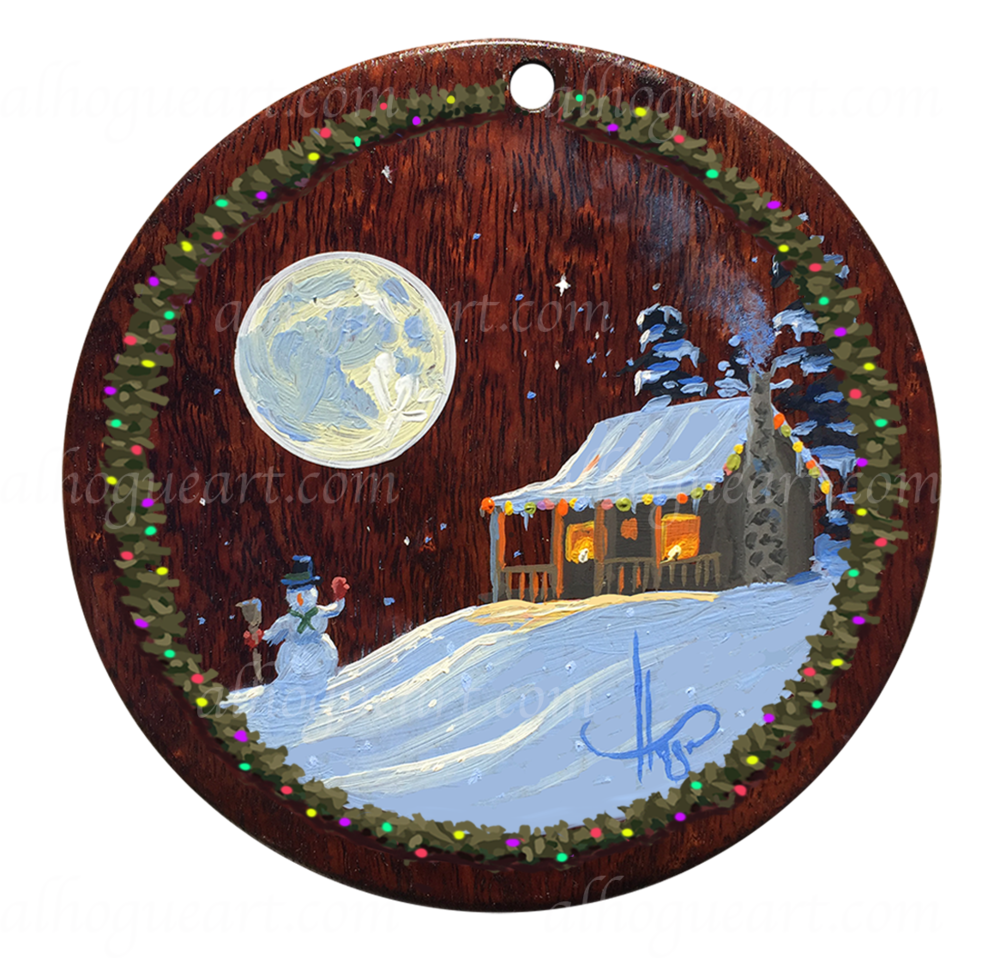 "5""x 5"" Heirloom Christmas ornament - original oil panting on Hawaiian Koawood"