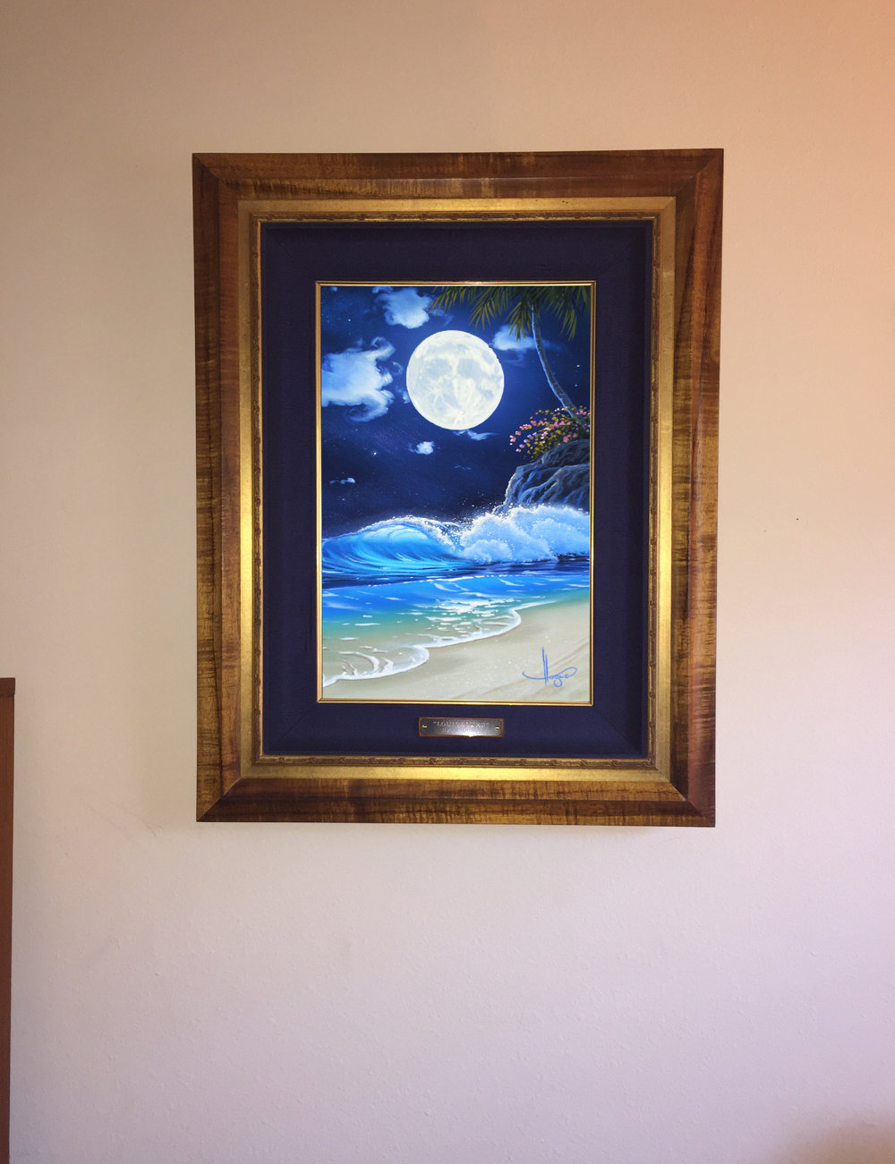 "Here is our new addition to our family ""Glowing Surf"" your paintings are so relaxing to look at.    Thank you, Dan"