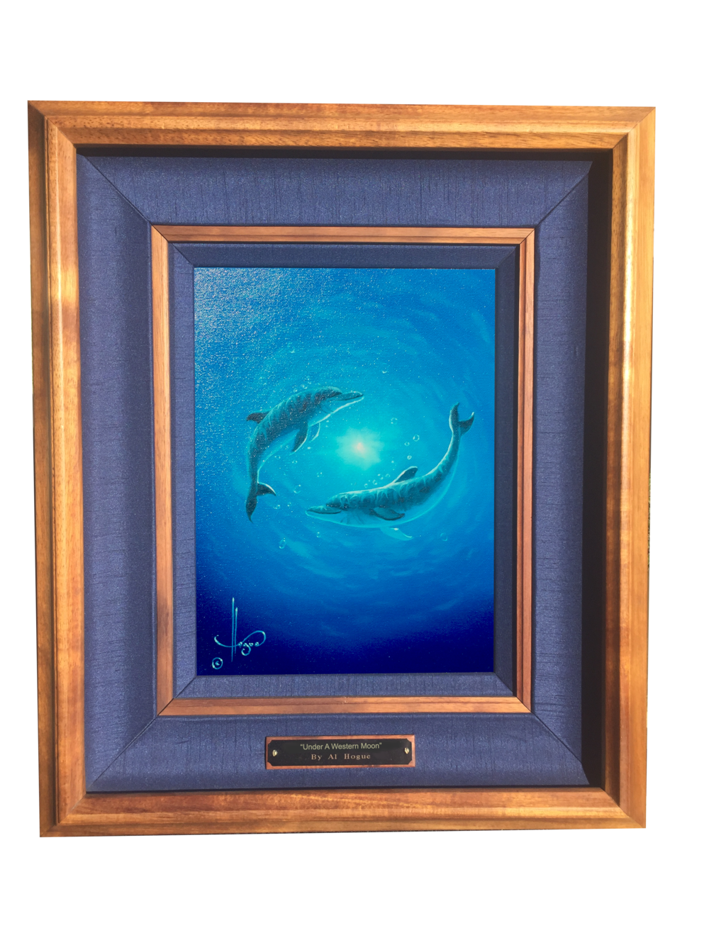 """Dolphin Dance"" 9x12 oil on canvas    ( framed in solid Hawaiian Koa wood )"