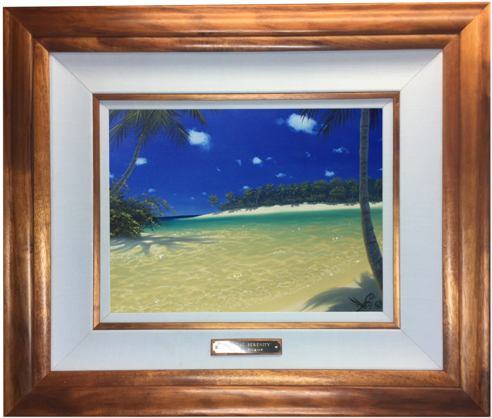 """Tropical Serenity"" 12x16 oil (framed in solid Hawaiian Koa wood)    In the privet collection of the Kutch family"