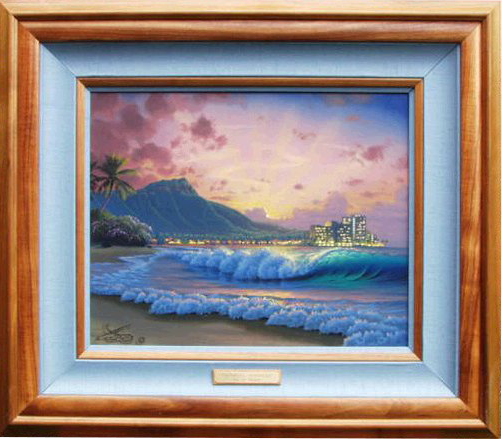 """Waikiki Sunrise"" 16x20 oil In the Onerhime family privet collection"