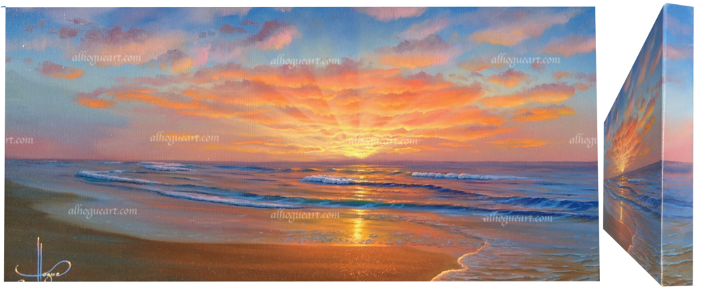 """Golden Surf "" 12x24 available oil (gallery wrapped)"