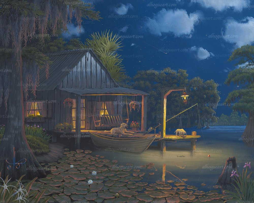 """Bayou Moon""  Available on limited edition Giclee on canvas and original oil painting"