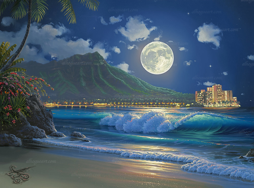 """""""Waikiki Surf Aglow""""  Available on limited edition Giclee on canvas"""