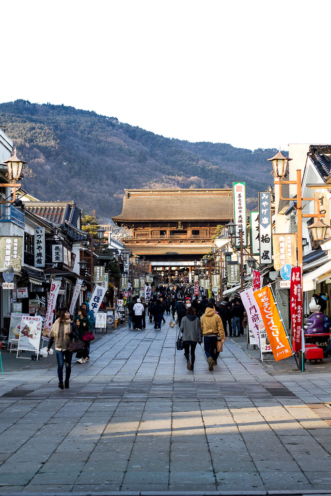 The busy main street in front of the Zenkoji temple.