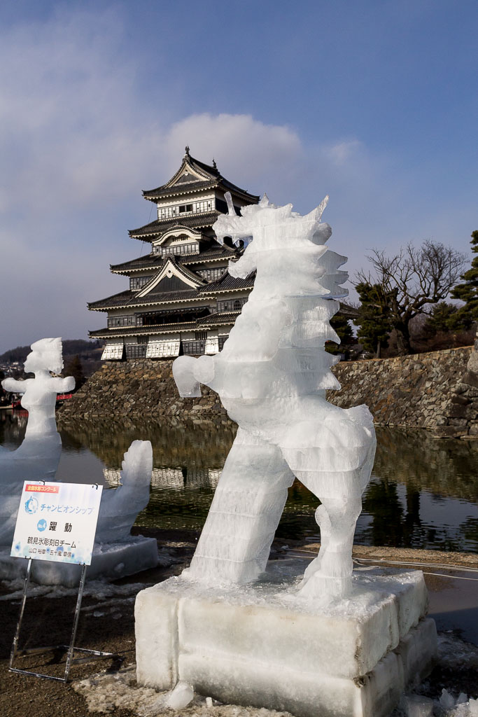 The amazing ice sculptures surrounding Matsumoto Castle
