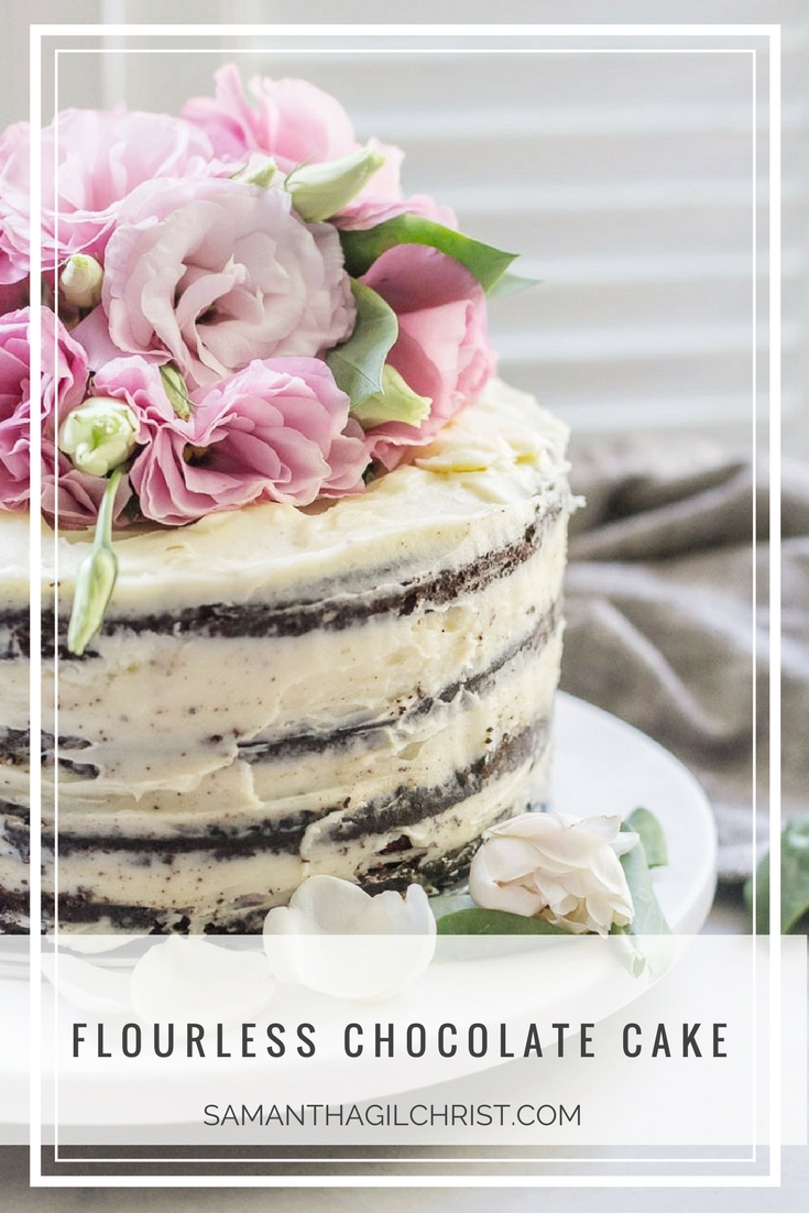 Flourless Chocolate Cake with fresh flower cake topper