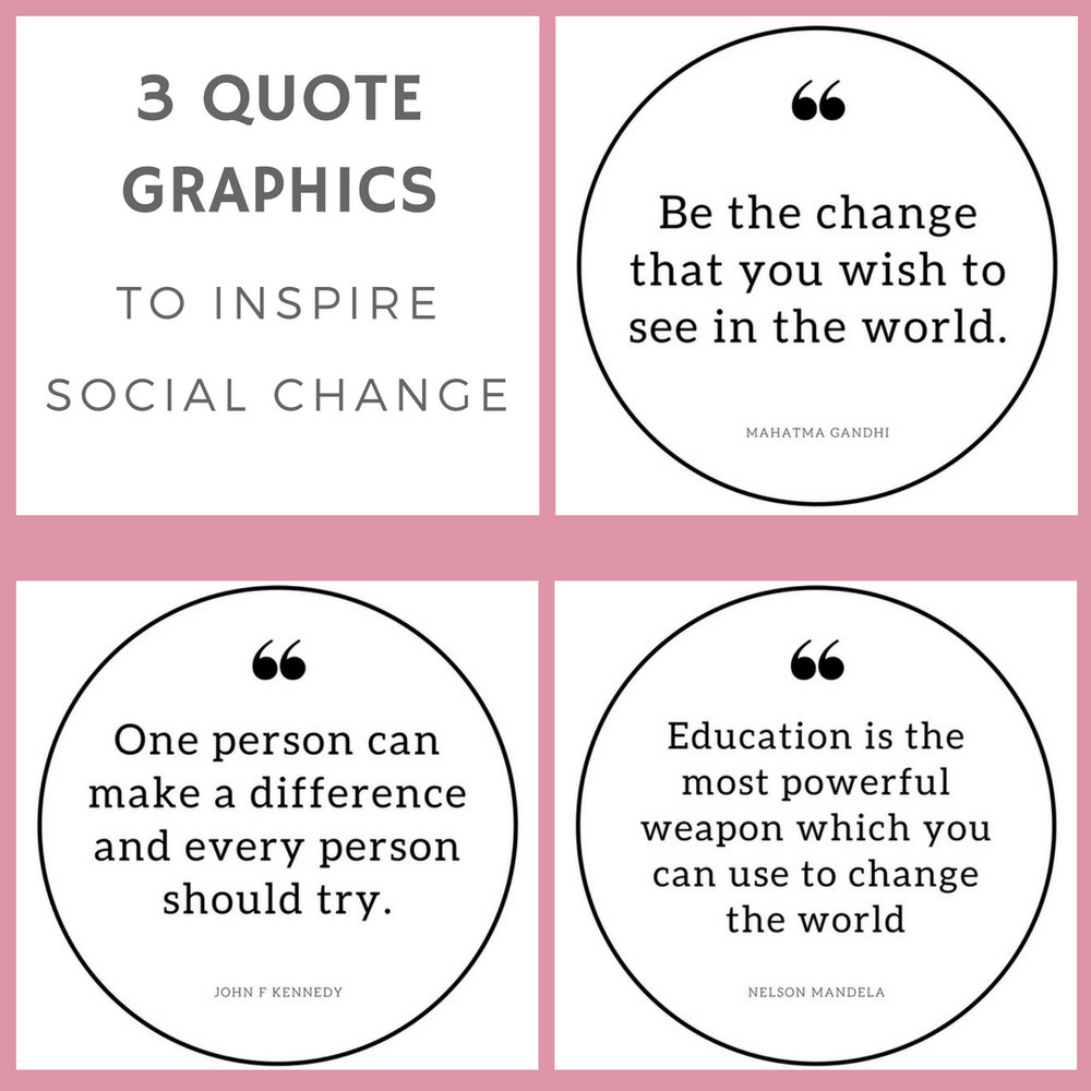 Quote graphic: Be the change the you wish to see in the world.