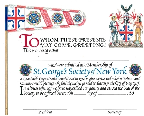 Membership Certificate — St. George\'s Society of New York