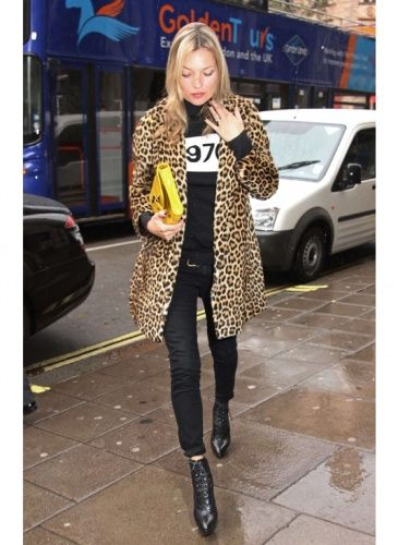 kate moss and leopard coat