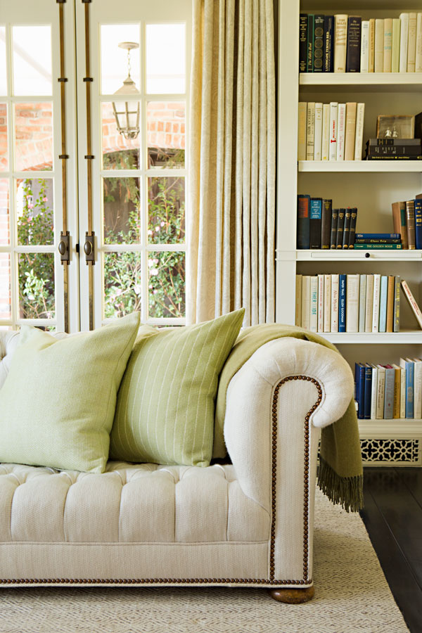 TATTERSALL - CELERY (left cushion)  GORDON STRIPE - CELERY (right cushion)