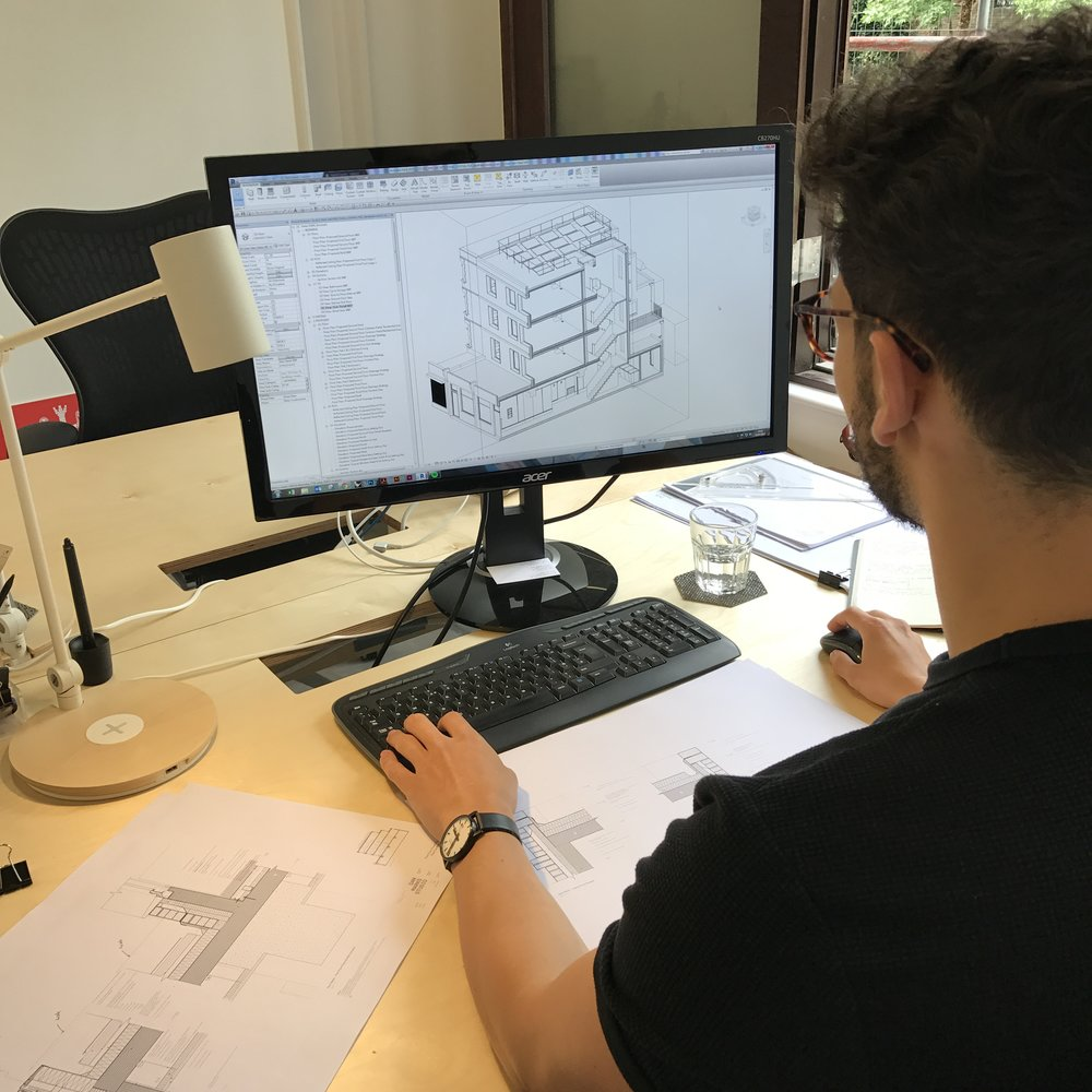 Tay working on the detailed design package for our Holloway Road project using Revit.