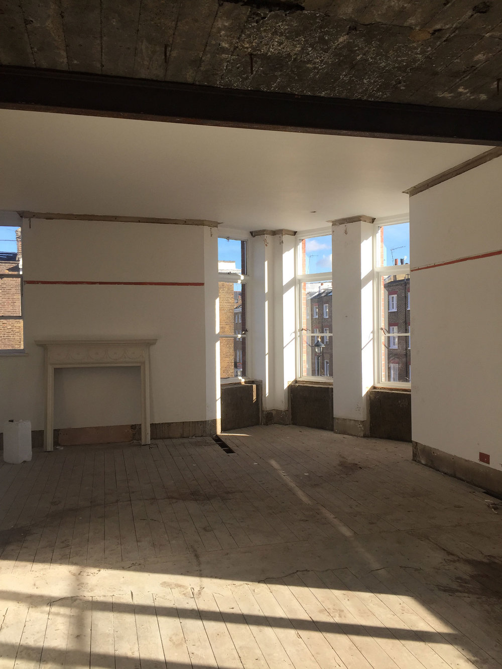 Clinker concrete ceiling exposed during the strip out to York House, Marylebone.