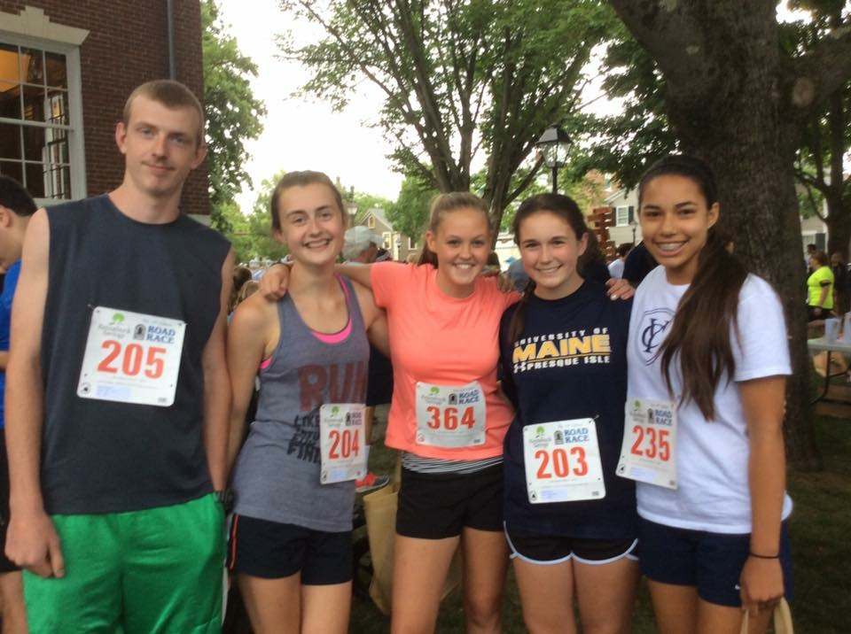 Sydney and her friends ran in a local 5K race as part of their fundraising efforts for Make-A-Wish Maine. (Pictured left to right: Chris, Ashley, Rachel. Sydney, and Ehryn)