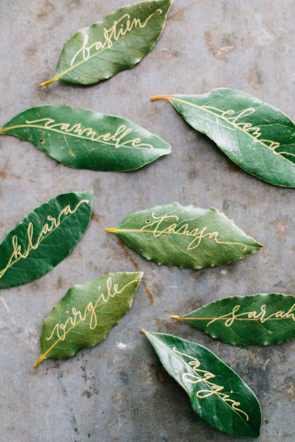Hand-scripted place cards made from bay leaves.jpg