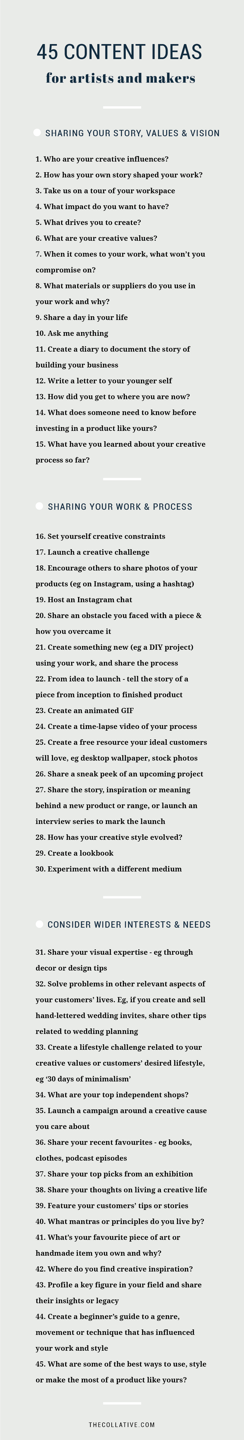 45 content ideas for artists and makers - The Collative