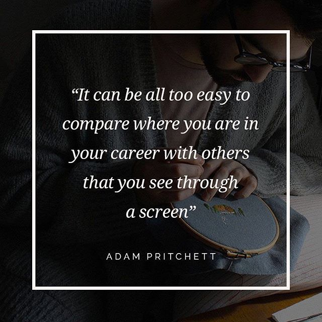 """Being a creative person at a time when people are so connected by the internet and social media apps, it can be all too easy to compare where you are in your career with others that you see through a screen. I know that I'm all too guilty of comparing myself with the success that I see peers achieving, and feeling like I'm not working hard enough, or good enough to be in the same position. That is an ongoing thing I work on all the time; it's not easy. What is very easy, is to be your own harshest critic, and only see inadequacies rather than the great things that you've accomplished."" - Adam Pritchett, textile artist (@ajpritchett) ⠀ ⠀    Read the full interview with Adam over on the blog (link in profile). Happy Friday! 😊"