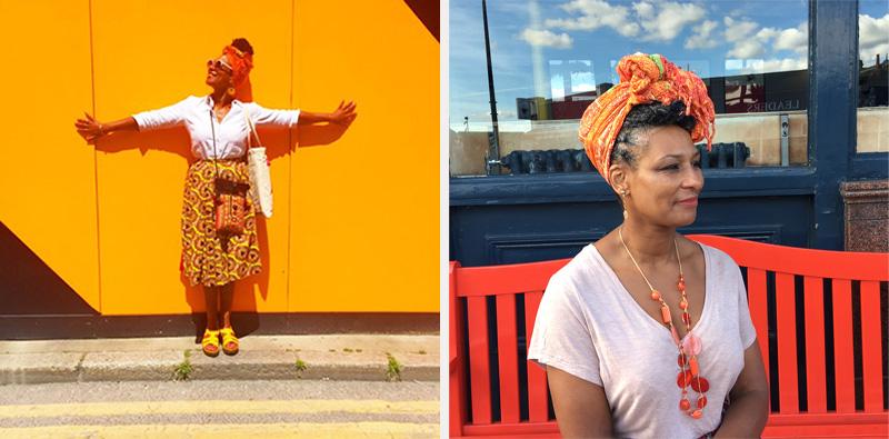 Left: Karen wears the 'Mini', a bespoke skirt by ReddskinUK