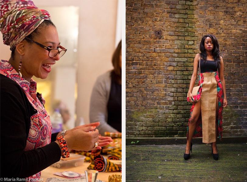 L-R: Karen teaching, photo by Maria Ramil; Layia Johnson wears skirt and bag by ReddskinUK, photo by Sara Atteby