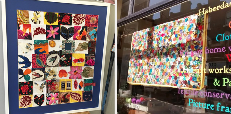 L-R: Fabric wall hanging made from squares made by the FGM community group for NHS Croydon; multi-coloured African scrap fabric quilt made by Karen,an example of craft helping wellbeing, in Stag and Bow Haberdashery window.