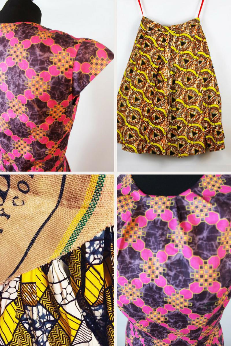 Clockwise from top left: ReddskinUK dress (from the ' Midi ' bespoke package); ReddskinUK skirt (from the ' Mini ' bespoke package); 'Midi' dress;upcycled dress detail.