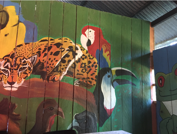 Wild animal mural, Mocagua house interior. Amazon, Colombia, 2015.