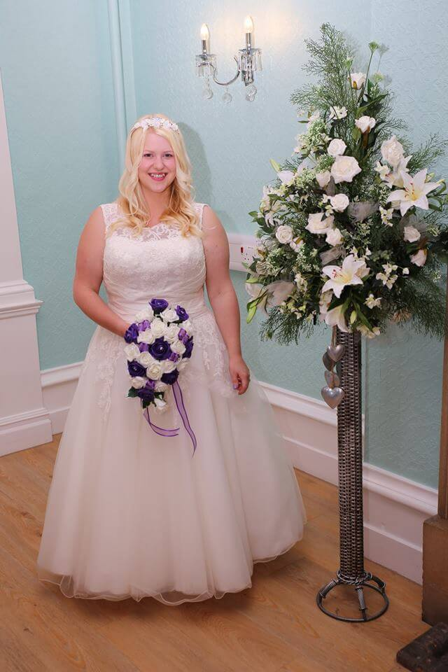 On my wedding day in 2016 - 164lbs, suffering from post natal depression