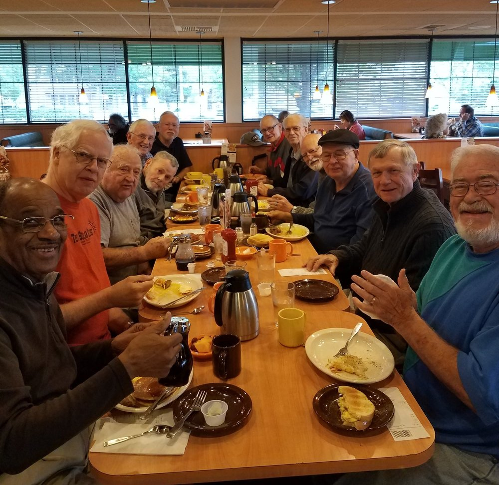 The monthly meeting of the men's group means the guys get together on the first Monday of the month to talk about what's new, what's up and what's for breakfast!  Rumor has it, that's the most important meal of the day! Look at those smiles!  #breakfastclub #pancakes  #mmmbacon