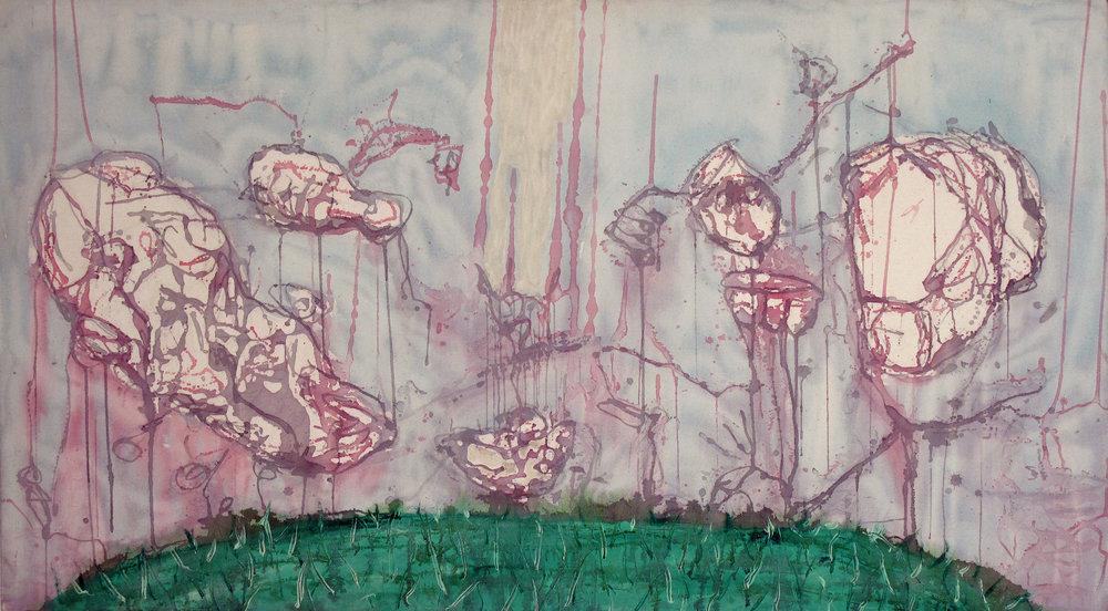 "Picnic , 2006 Acrylic on canvas 39""x70"" $1200"