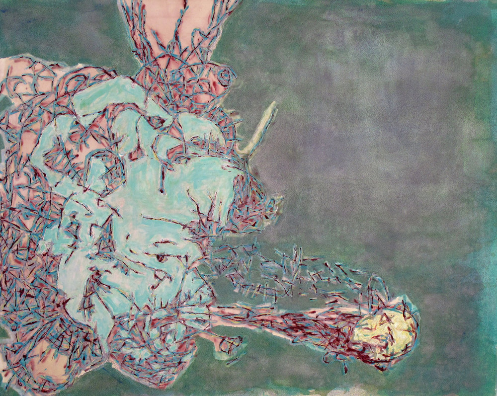 "Silent Things, 2006 Acrylic, ink and marker on canvas 48""x60"" $950"