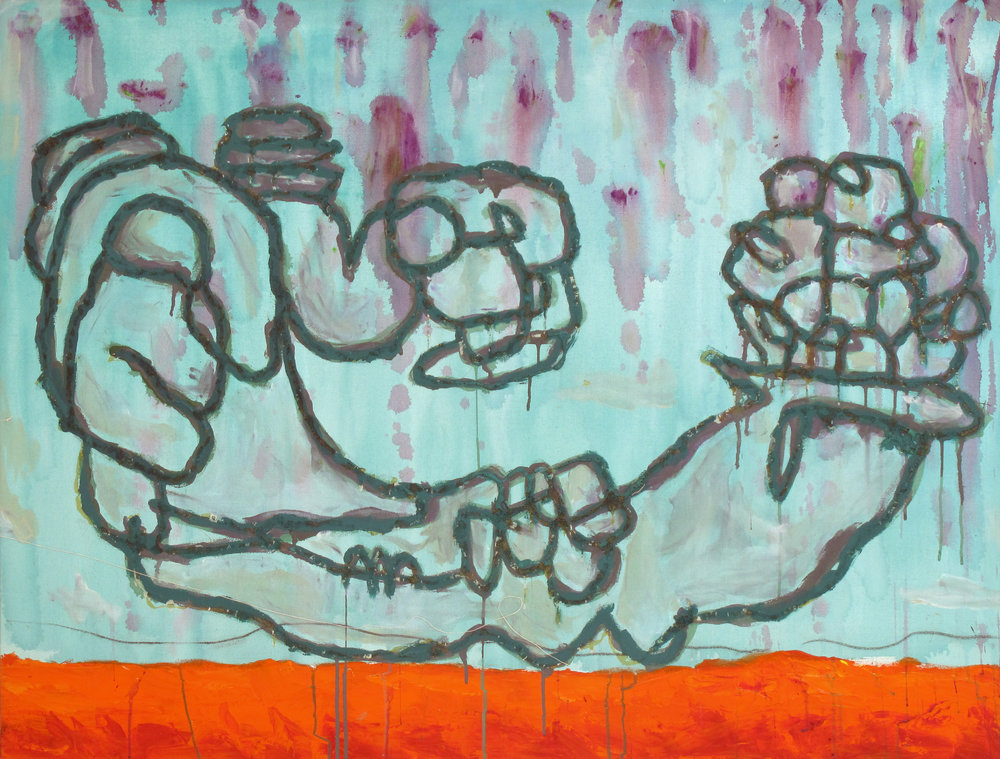 "Release , 2006 Acrylic, charcoal and glue on canvas 38""x50"" $950"