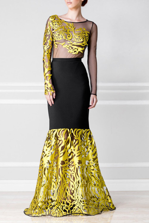 Falda negro con dorado - €230