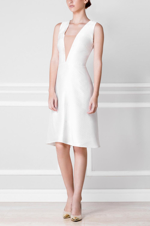 Vestido blanco de brocado - €130