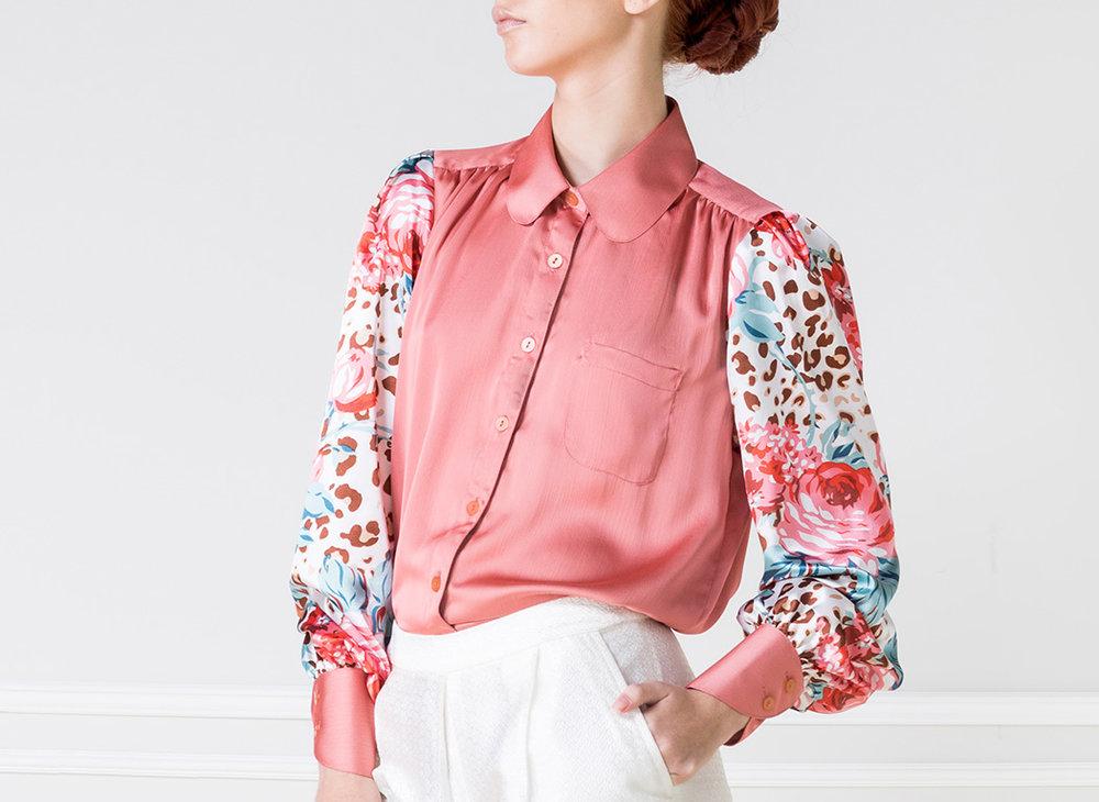 Camisa rosa manga larga estampada 2 - €80
